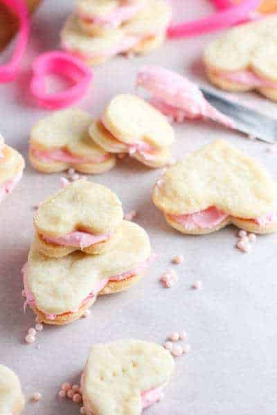 Valentine Cream Wafer Cookies sprinkled with pink beads