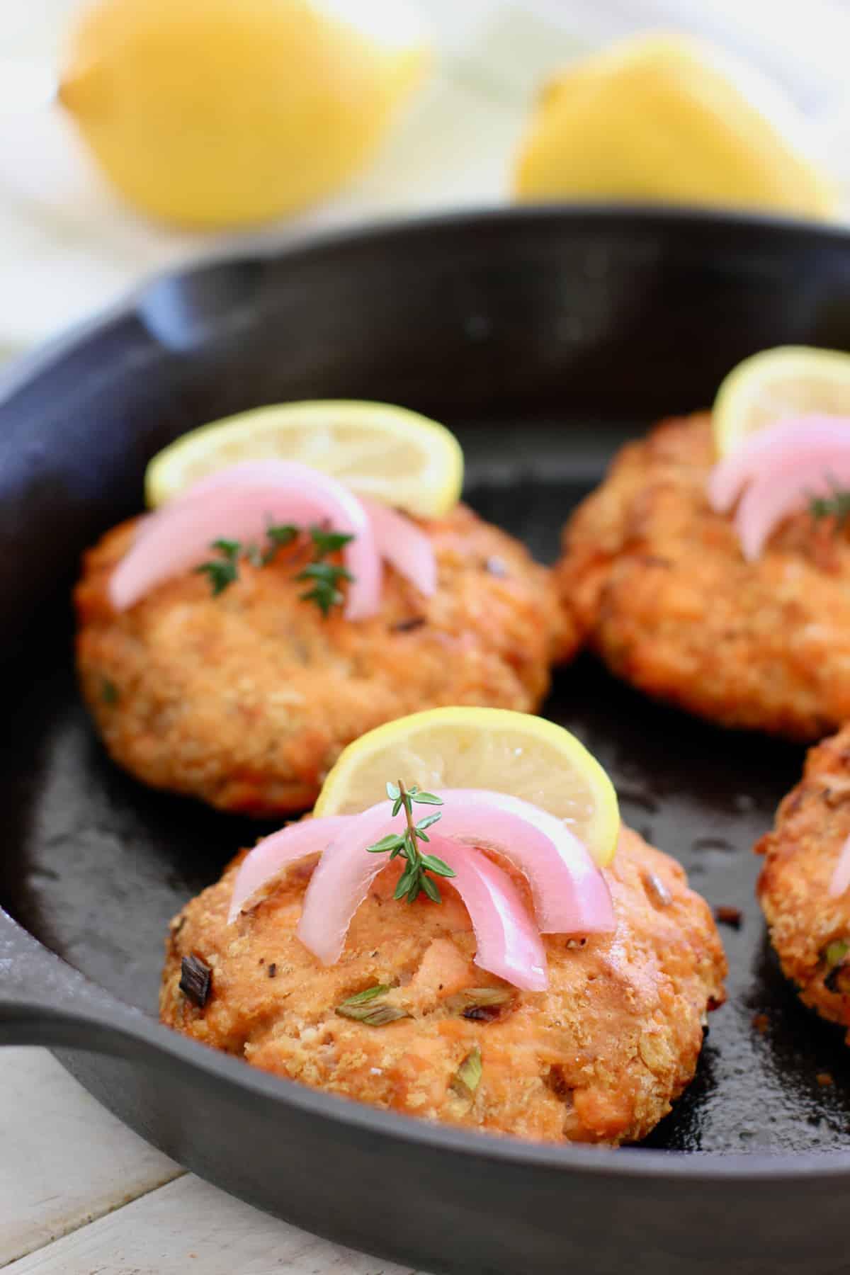 Salmon Burger in Cast Iron Skillet