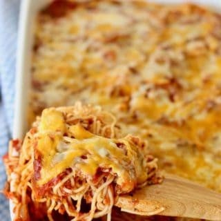 Baked Spaghetti Casserole being served