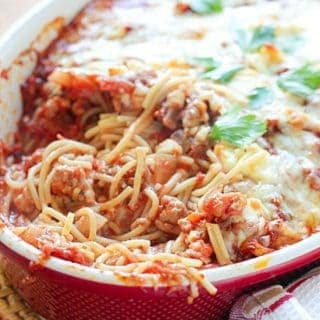 Delicious baked spaghetti served up