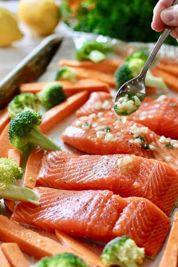 Honey and garlic drizzled over fresh salmon