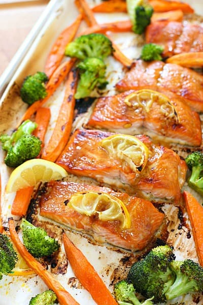 Salmon Sheet Pan  hot out of the oven and ready to serve