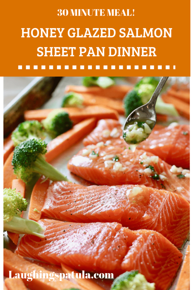 Salmon, veggies and sweet potatoes all cooked up on one sheet pan!  This is a perfect weeknight meal.  #salmonsheetpan #healthysalmon #easysalmonrecipes