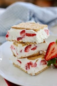 Skinny Strawberry Yogurt Bars stacked on a white plate