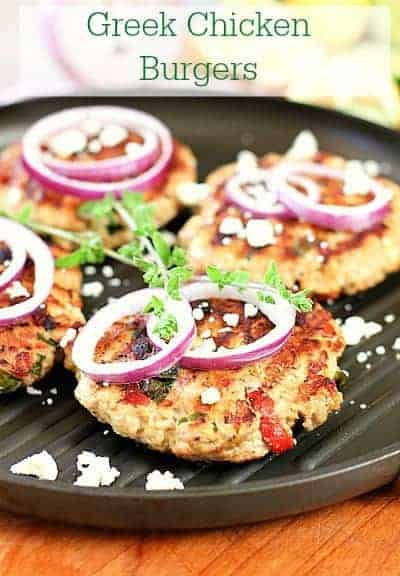 Greek Chicken Burgers on a grill pan