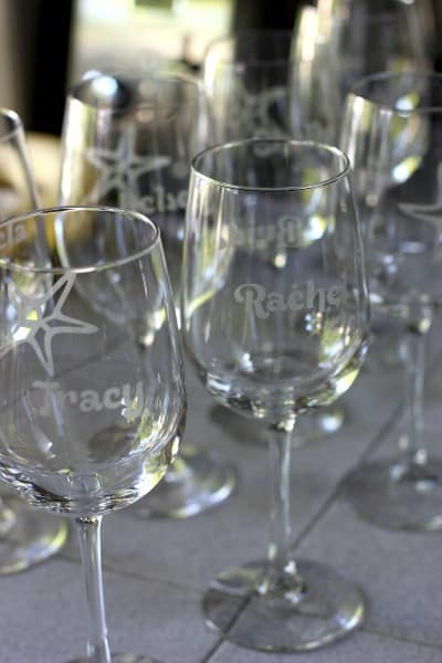 Etched wine glasses for a bridal shower