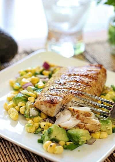 Easy Grilled Mahi with Avocado and Corn Salsa