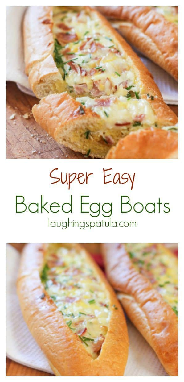 Easy Egg Boats!  Simply hollow out a baguette and fill with yummy ingredients and bake!  Makes a great brunch or even an appetizer! #brunch #easybrunch #eggrecipes #brunchforacrowd