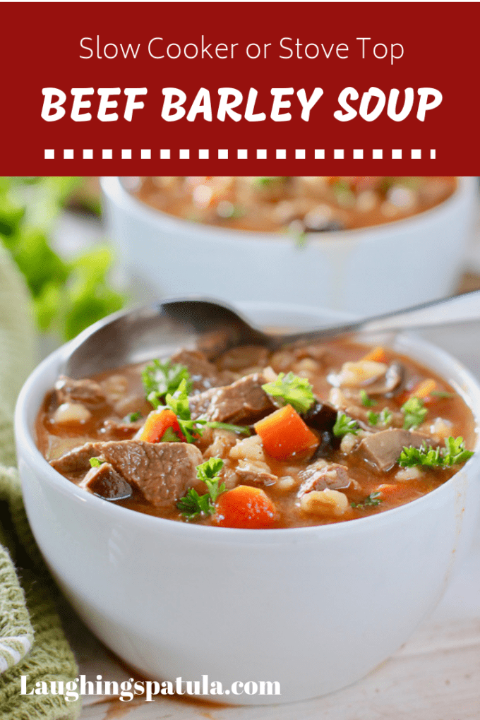 Beef Barley Soup in white bowls
