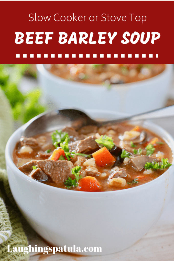 Slow Cooker  Beef Barley Soup!  This delicious and easy soup can be made slow cooker or stove top!  Fresh ingredients done right! #slowcooker #soup #healthyslowcookersoup #souprecipe #beefsoup #beefstew #healthybeefsoup