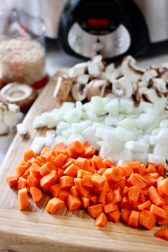 chopped carrot, onion and mushroom for the soup