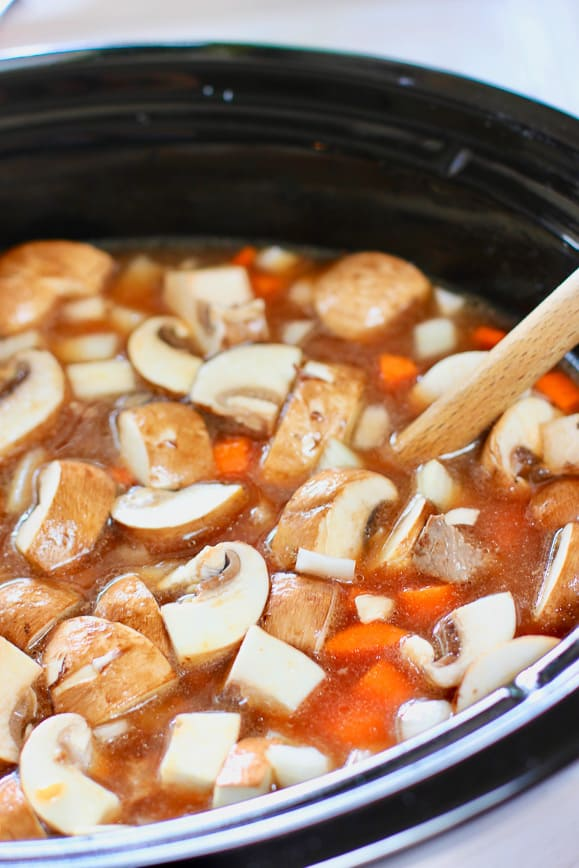 Soup is ready for long cook time in the slow cooker