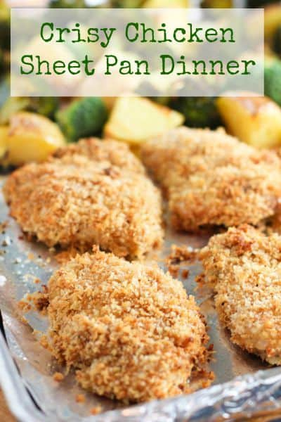 Crispy Chicken and Potatoes with Broccoli.  All baked on a sheet pan for a healthy dinner with easy clean up! #sheetpan #sheetpandinner #crispybakedchicken #chickenthighs