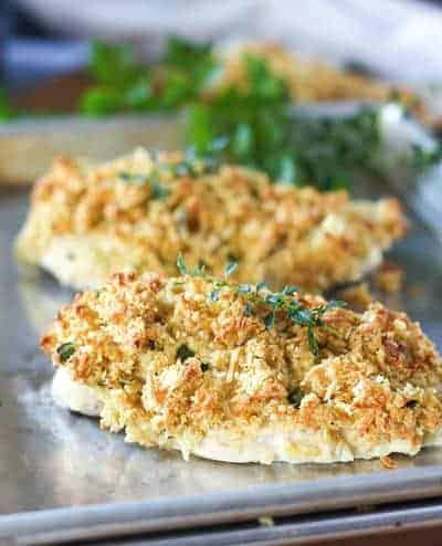 Dijon Parm Crusted Chicken on a sheet pan
