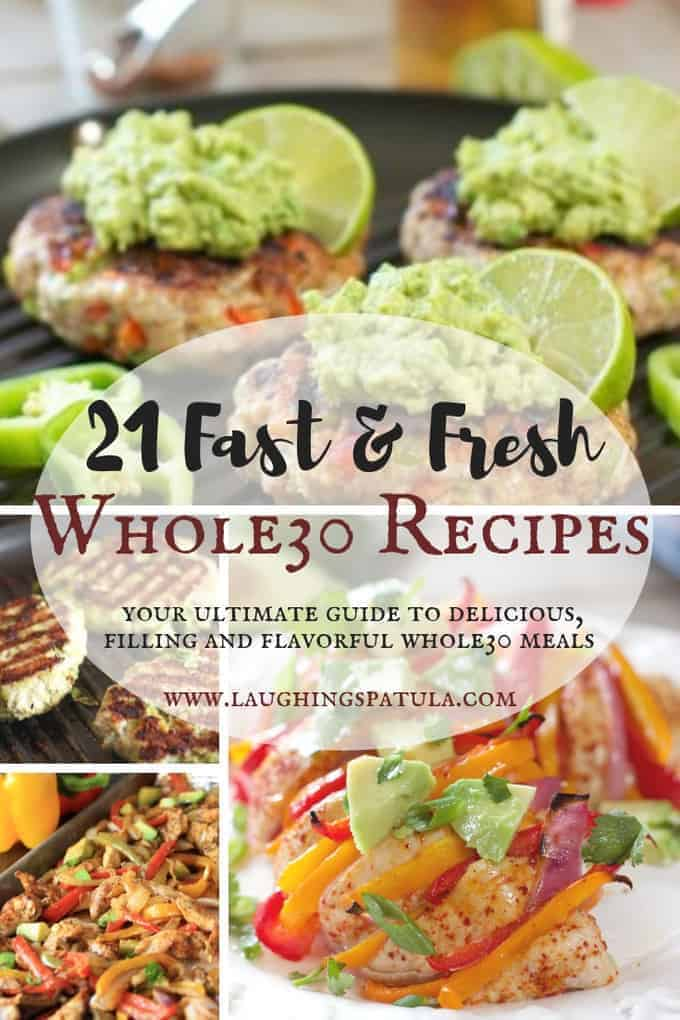 3 weeks worth of Whole30 Dinners. So delicious you'll forget they're Whole30! A collage of whole30 recipe pictures including chicken avocado burgers, chicken fajitas, fajita stuffed chicken, in a grid style collage
