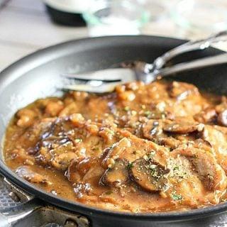 Easy One Skillet Pork Chops in Mushroom Gravy