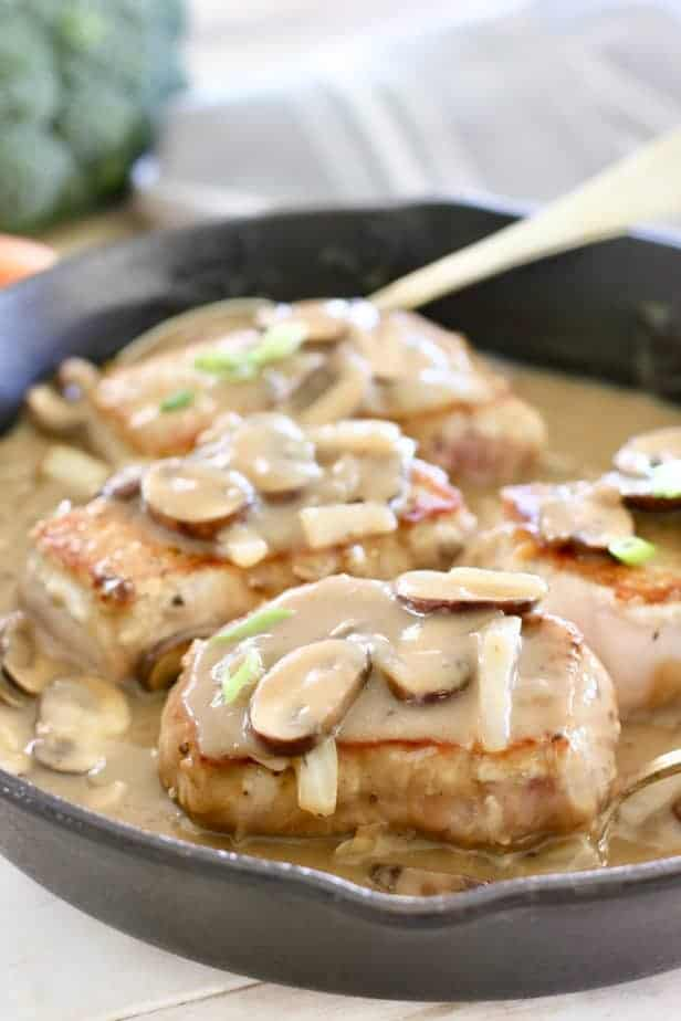 Pork Chops in Gravy with Mushrooms ready to serve