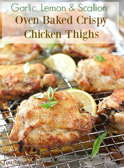 These Crispy Oven Baked Chicken Thighs will become your favorite chicken dinner recipe!  Tender and juicy.  Tastes like fried! #crispychicken #chickenthighs #ovenbakedchicken #bakedfriedchicken #healthychicken #whole30 #paleo