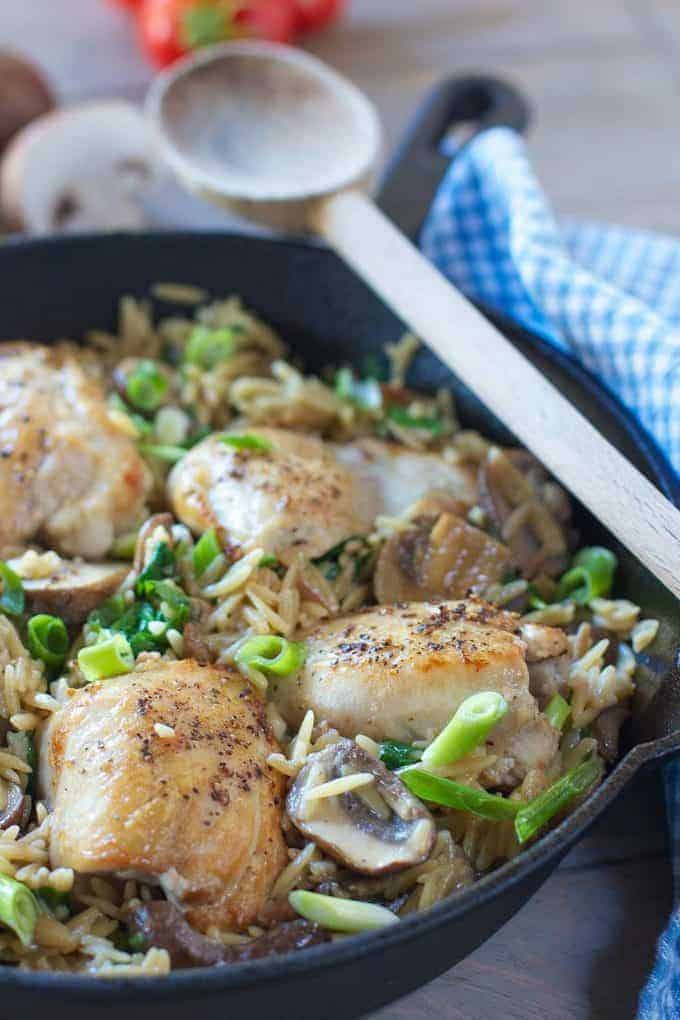 Chicken and Orzo in a skillet ready to serve