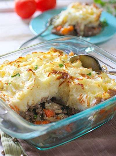 Shepherds Pie In a clear glass dish ready to serve!