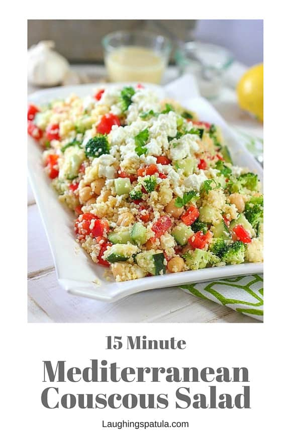 This crunchy fresh and easy to make Mediterranean Couscous Salad is such a great change up from your everyday salad!  #couscous #easysalad #garbanzo #greeksalad #meditteraneansalad