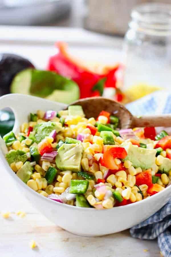 fresh corn salad with avocado