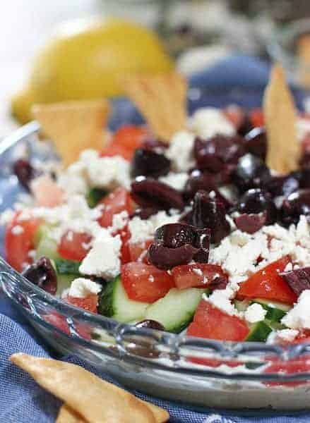 Layered Greek Dip ready to serve