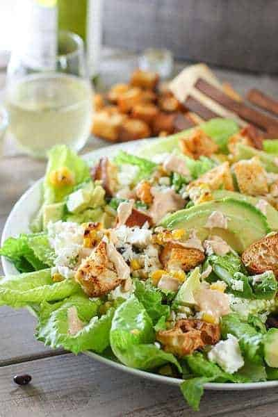 Spicy Caeser Salad ready to toss