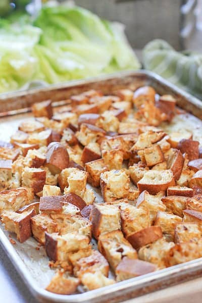 Spicy Croutons on a sheet pan