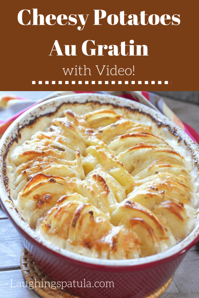 Don't be fooled by the fancy exterior of these Cheesy Potatoes Au Gratin!  They are incredibly easy to make!  #holidaysidedish #easypotatoes #augratinpotatoes #easyaugratinpotatoes #thanksgiving #thanksgivingsidedish
