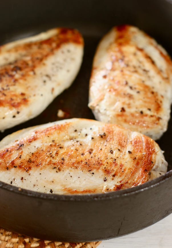 Perfectly seared chicken breasts