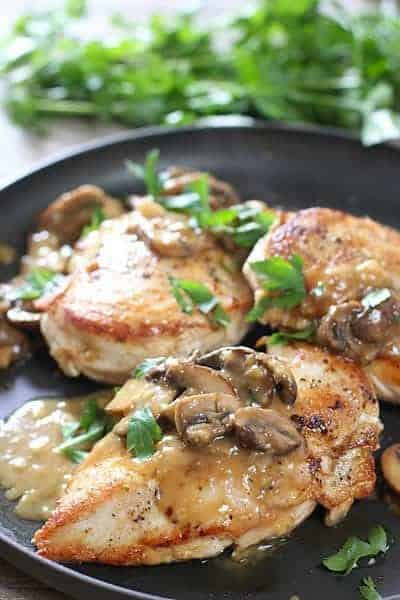 Perfectly seared chicken breasts with a quick and easy mushroom pan sauce! 30 minute meal!
