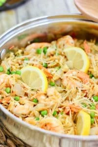 fresh shrimp cooked with orzo in skillet