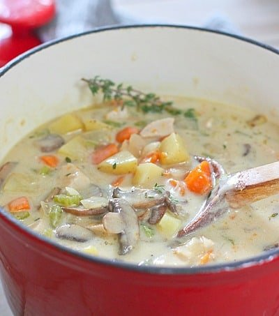 Chicken Chowder in a red pot