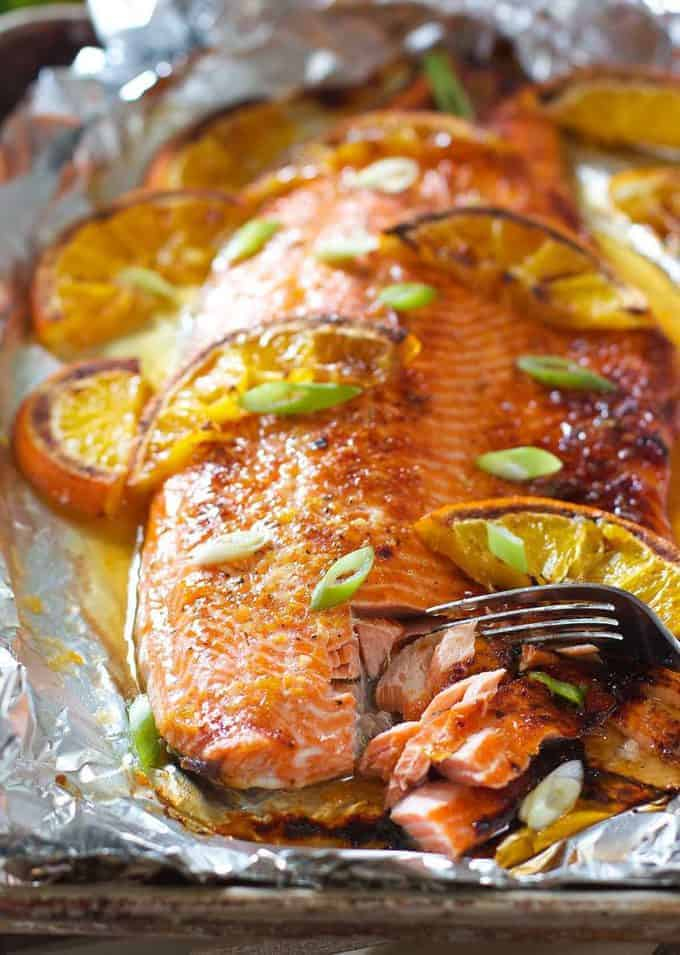 Glazed Salmon on a sheet pan lined with foil