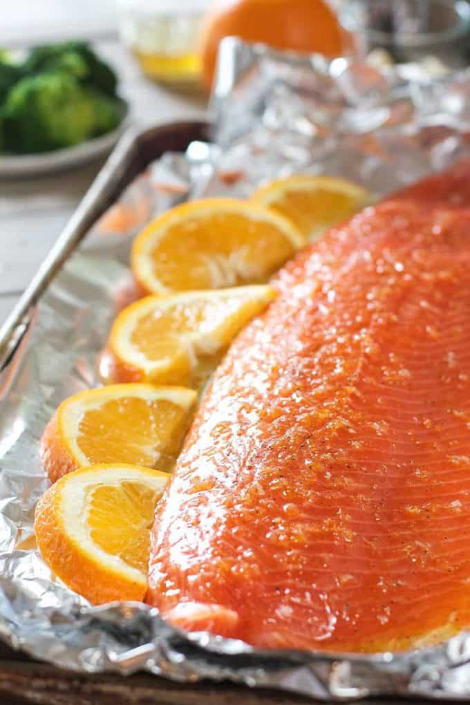 Salmon on a baking sheet ready to bake