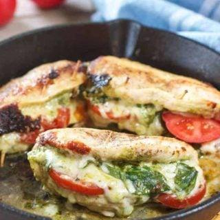 Pesto Mozzarella and Tomato Stuffed Chicken Breasts (with Video)