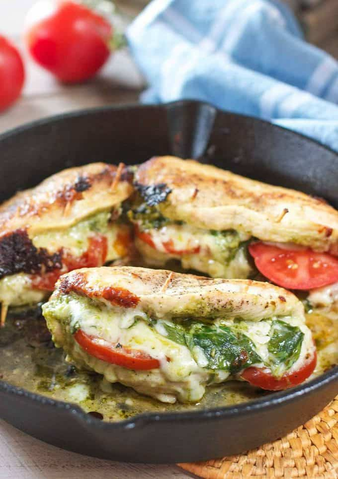 Pesto Stuffed Chicken Breasts in a skillet