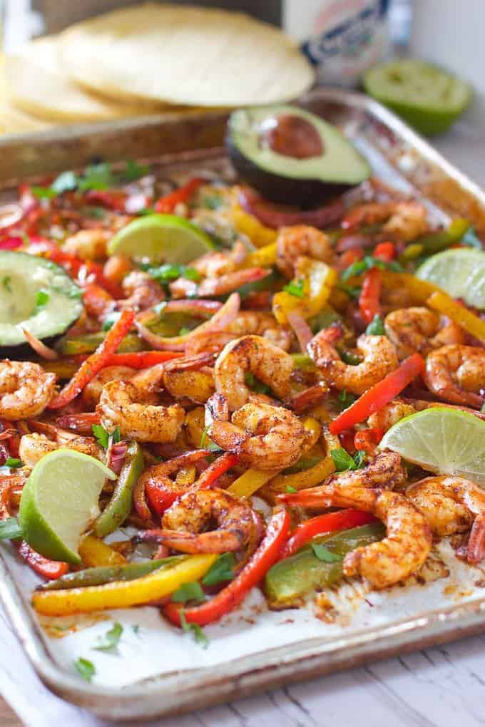 Sheet Pan Chili Lime Shrimp Fajitas