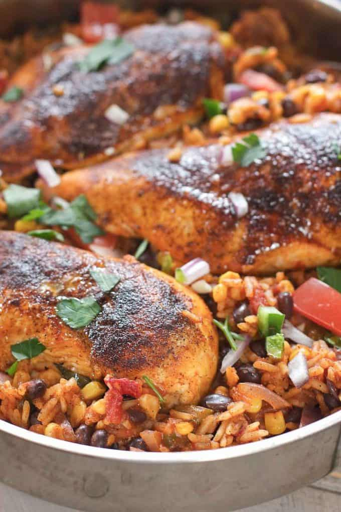 Southwest Chicken nestled in a flavorful rice