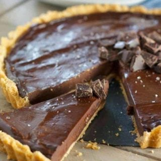 chocolate ganache tart being served