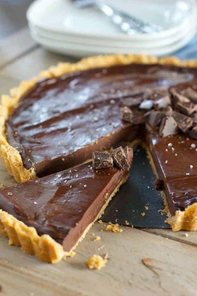 chocolate ganache tart being served