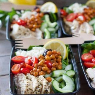 Easy Greek Salad Meal Prep Bowls with Roasted Garbanzo Beans
