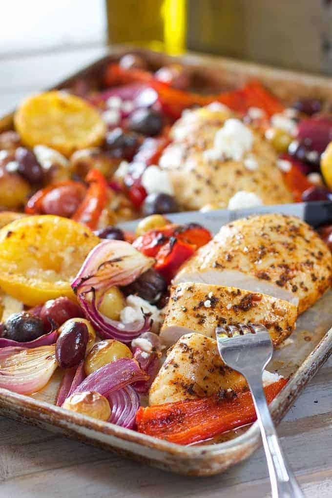 Greek Chicken Sheet Pan Dinner Laughing Spatula