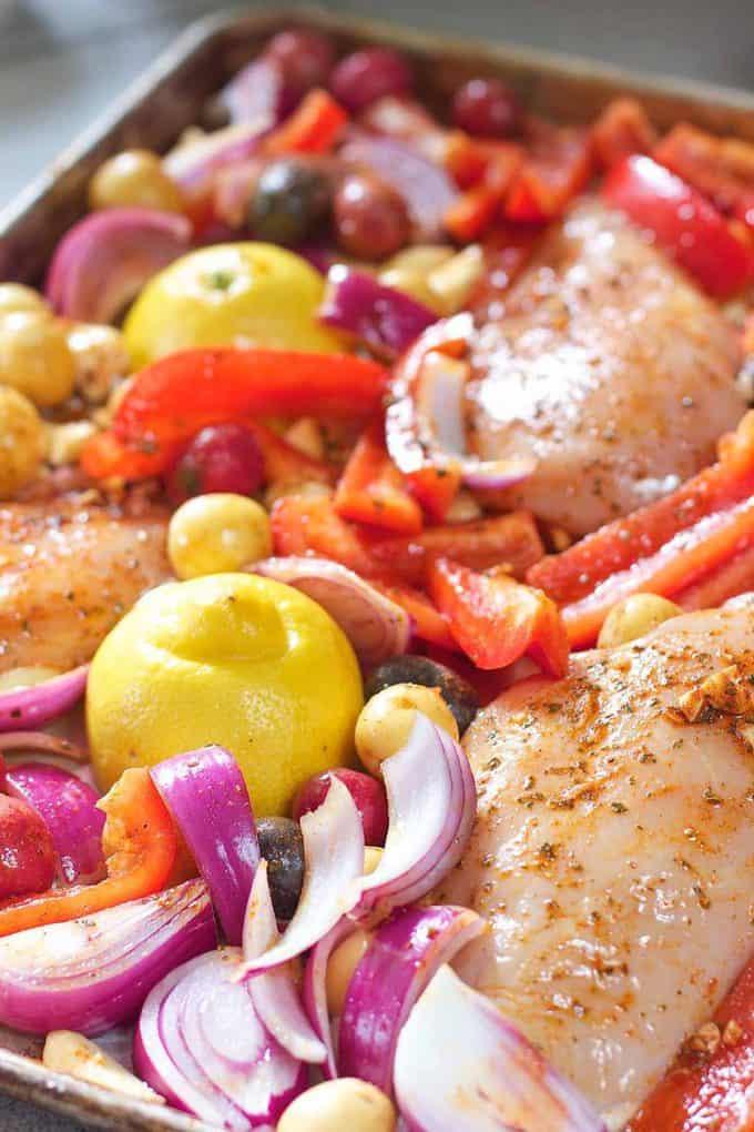 Greek Chicken Dinner right before baking