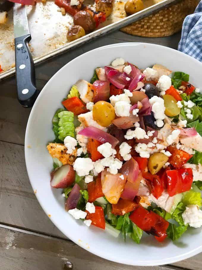 Greek Chicken Sheet Pan Dinner for Lunch!