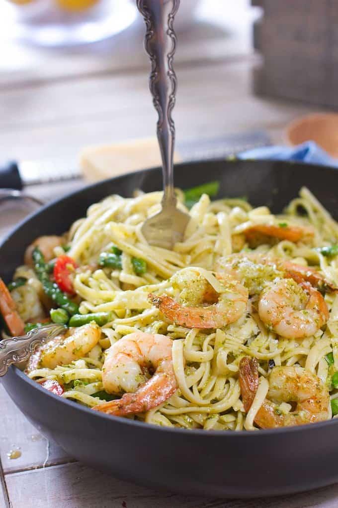 Pesto and Pasta with Shrimp