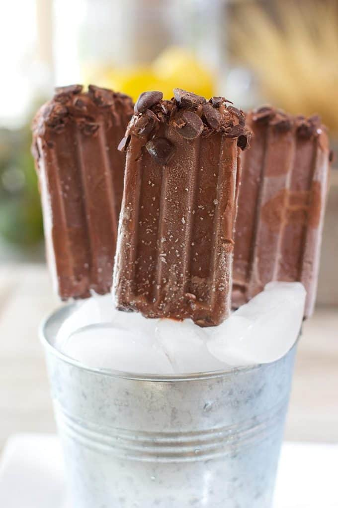 Dark Chocolate Fudgcicles in an ice bucket