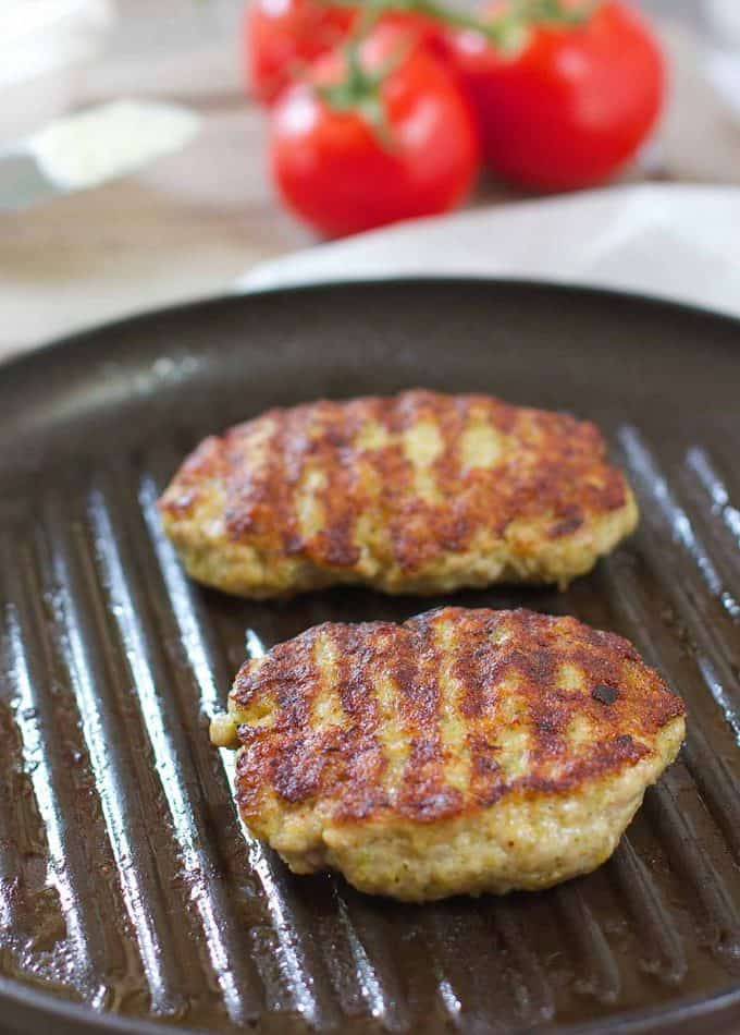 Chicken Pesto Burger on grill pan