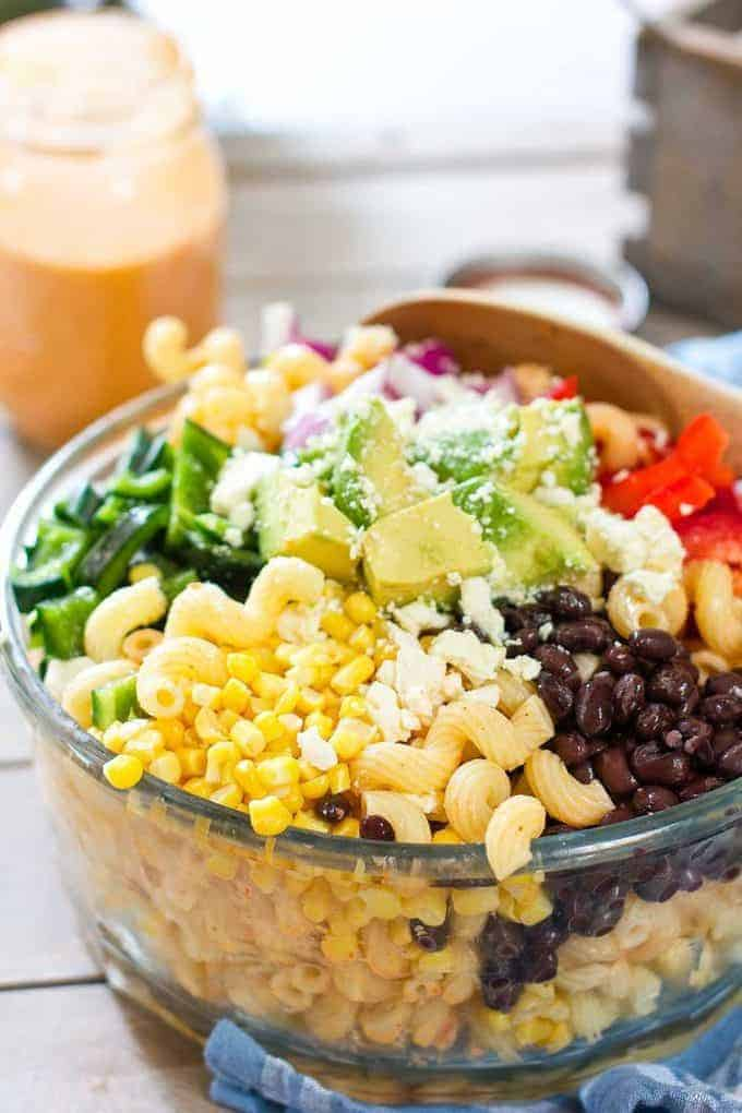 Tex Mex Pasta Salad in a large bowl